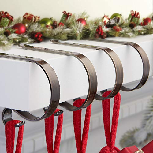 Christmas Stocking Holders for Mantle Set 4,Lightweight Stocking Holder No-slip Stocking Hangers for Mantel Fireplace,Adjustable Mantel Stocking Hooks