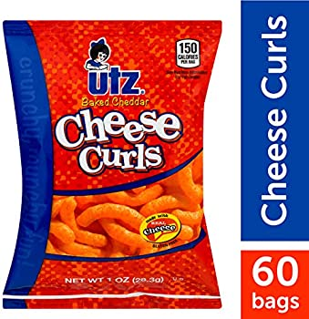 60-Count Utz Cheese Curls, Baked Cheddar, 1 oz. Bag