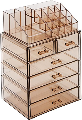 Sorbus Cosmetic Makeup and Jewelry Storage Case Display - Spacious Design - Great for Bathroom, Dresser, Vanity and Countertop (4 Large, 2 Small Drawers, Bronze Glow)