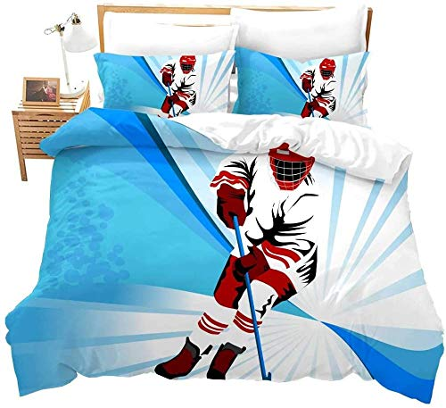 Rvvaceo Double Duvet Cover Set Duvet Cover With Pillow Cases, 3 Piece Bedding Set, Soft Poly-Cotton Quilt Cover, Machine Washable, Easy Care-Double (200 X 200 Cm) Blue Abstract Hockey Player