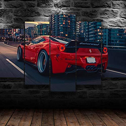 yuanjun 5 Juegos De Pinturas Impresión HD Pintura De Arte De Pared Pintura Moderna Pintura De Decoración del Hogarimpresión De Lienzo XXL Coche Deportivo De Lujo Rojo 458