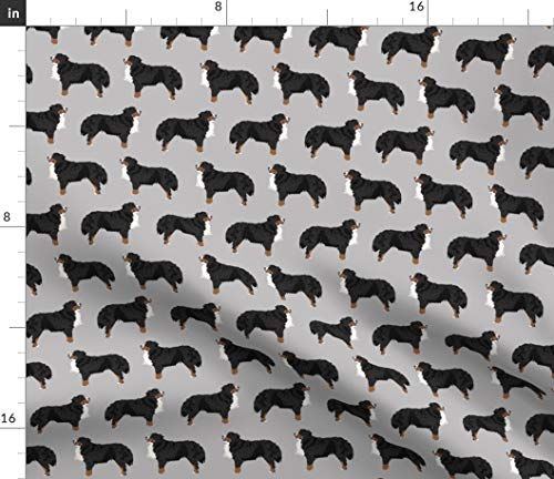 Spoonflower Fabric - Bernese Mountain Dog Breed Dogs Cute Best Pet Gray Printed on Linen Cotton Canvas Fabric by The Yard - Sewing Home Decor Table Linens Apparel Bags