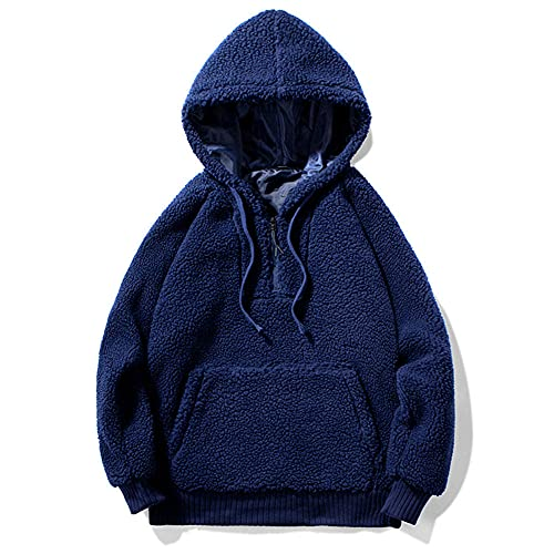 Anoauit Los Hombres de la Sudadera con Capucha de Manga Larga, Invierno suéter de Lana de Cordero Moda Color sólido con Capucha Sudaderas Bolsillo Grande con cordón-Azul_2XL