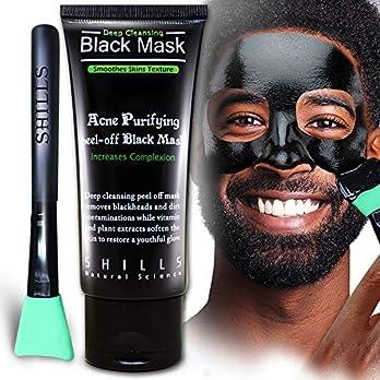 SHILLS Black Mask, Peel Off Mask, Blackhead Remover Mask, Charcoal Mask, Blackhead Peel Off Mask and Cyan Brush Kit (50ml)