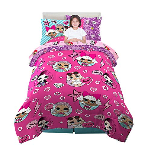 Franco Kids Bedding Super Soft Comforter and Sheet Set with Bonus Sham, 5 Piece Twin Size, LOL Surprise