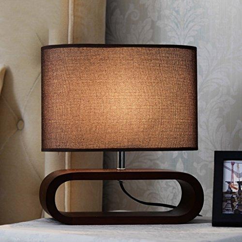 Bonne chose lampe de table Lampe créative personnalisée Lampe de chevet simple en tissu Robinet en bois massif Salon Éclairage décoratif (Couleur : Couleur du bois)