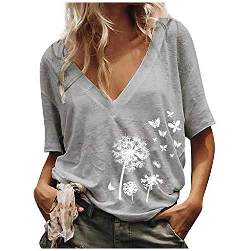 PPangUDing T-Shirt Damen Sommer V-Ausschnitt Kurzarm Pusteblume Drucken Baumwoll Basic Casual Oberteile Tee Shirt Tunika Tops Hemd Bluse Sweatshirt