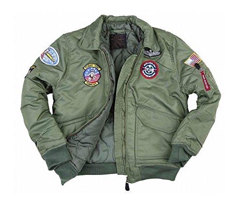 Fostex garments Blouson Aviateur Bombers B-52 Top Gun Kaki Enfant avec Porte Clé (14 Ans)