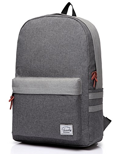 Laptop Backpack, Water Resistant High School Backpack in Gray by Vaschy fits up to 15 Inch Laptop