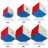 OJIN MoYu MOFANGJIAOSHI Cubing Classroom MFJS Ensemble de Cube de Vitesse spécifique 2x2 3x3 4x4 5x5 6x6 7x7 Cube Magique génial Lumineux Cube Puzzle avec Ensemble de Cadeaux et trépieds à Six Cubes