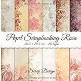 Papel Scrapbooking Rosa 20,5 x 20,5 cm - 20 hojas