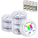 LOFTEK 13 LED Submersible Lights Remote Control 164ft Remote Range, Extra Bright Color Changing Underwater Lights for Ponds Pool Boat, IP68 Full Waterproof,Battery Operate(6 Packs)