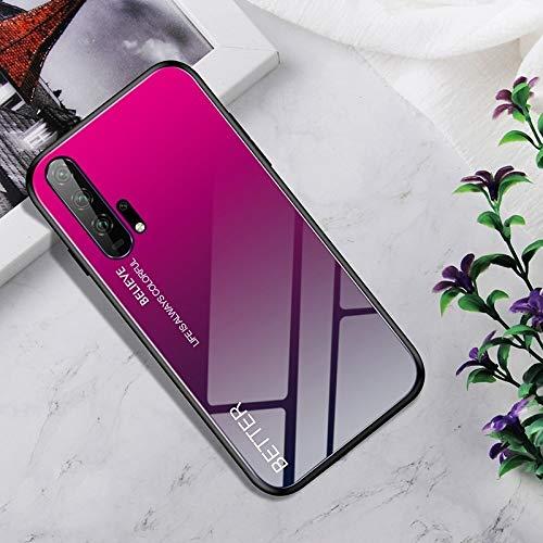 Dmtrab Phone Case para Huawei Honor 20 Pro Caso, Vidrio Templado a Prueba de Golpes + Funda Protectora TPU (Nebulosa Colorida) Tapa de Paquetes (Color : Rose Red)