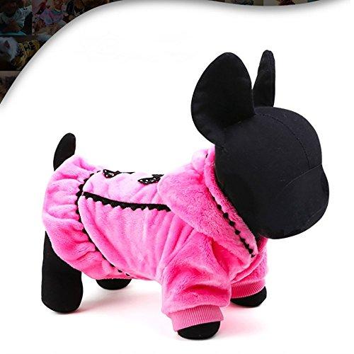Vivi Bear Hunde-Mantel Warm, weich mit Bowknot Winter Sweatshirts Plüsch Haustier Kleidung, Kleid, Prinzessin Jasmin, Urlaub, Geschenk-Set mit gratis-Windel.