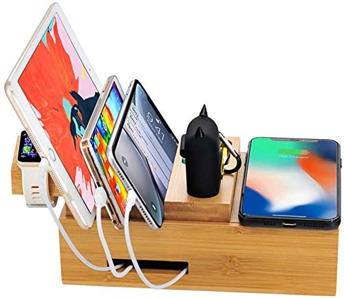 Gymqian 5Usb Multi-Function Fit iPhone Xr X Wireless Charger Dock Station Fit Airpods Fit Samsung Huawei Charger Dock Stable and Firm