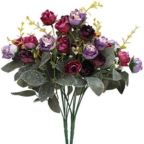 Luyue Künstlicher Seiden-Blumenstrauß mit 7Stielen und 21 Rosen, 2Stück Purple Coffee