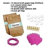 Papierdrachen 12 Osterhasen zum selber Basteln und Befüllen - Kreatives Geschenk zu Ostern mit 12 Papiertüten, Kordel und Pompons - für Mädchen - 6
