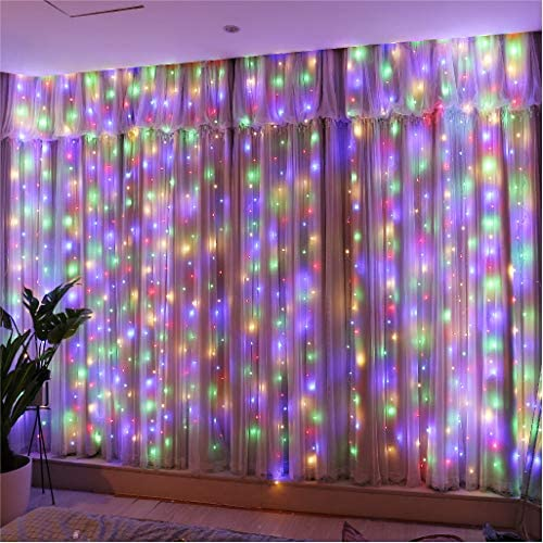 Upgrade Curtain Fairy Lights 300LED with Rotating Clips 15 Hooks HXWEIYE Multicolor 9 8x9 8Ft product image