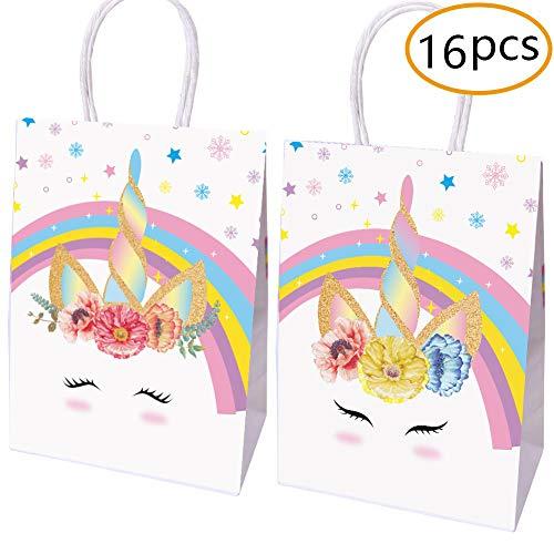 Unicorn Party Favor Bags - Juego de 16 Bolsas de Papel Decoradas para Dulces y golosinas (2 diseños)
