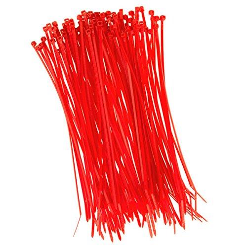 100 Stück Kabelbinder 200mmx2,5mm für Schattiernetz Zaunblende Zaun in rot