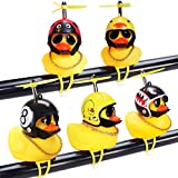 wonuu Rubber Duck Car Ornaments, 5Pcs Yellow Duck Car Dashboard Decorations Squeeze Duck Bicycle Horns with Propeller Helmet (5 Pack-Combination 1)