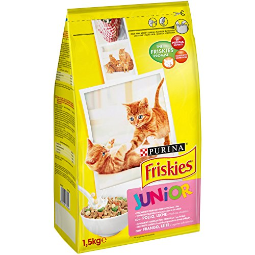 Friskies - Gato Junior con Pollo, Leche y Verduras añadidas, 1,5 Kg ✅