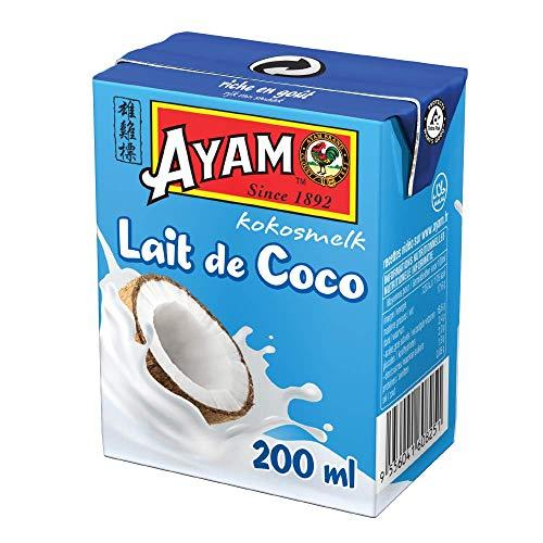 AYAM Lait de Coco | Goût Authentique | Noix de coco Fraîches | Haute Qualité | Alimentation Saine | Lait Végétal | Sans Lactose | Sans Gluten | Sans Conservateurs - 200ml - 1pc