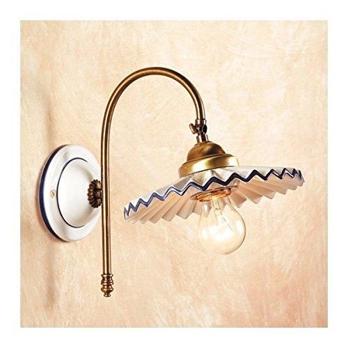 Appliques lampe de mur en satin de laiton et abat-jour en céramique, plissé, rustique rétro – Ø cm.21 - Verde