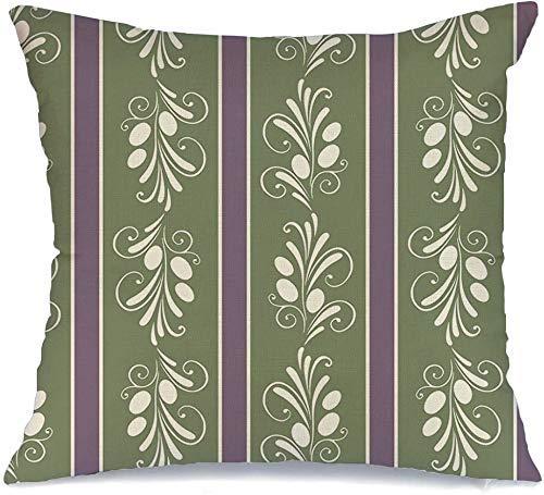 Taie d'oreiller housse de coussin Pillow Cover Modèle Olives Végétariennes Arbre Brindille Peut Alimentation Ligne Olive Bio Abstrait Naturel Mangez Conception Cueillette 45 X45CM