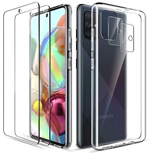 LK Compatible con Samsung Galaxy A71 Funda, 2 Pack HD Cristal Protector de Pantalla y 2 Vidrio Templado Protector de Lente de cámara, Carcasa Suave TPU Silicona Cover - Clara
