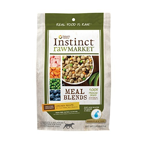 Nature's Variety Instinct Raw Market Grain-Free Freeze Dried Chicken Recipe Meal Blends for Dogs, 1 LB. Bag