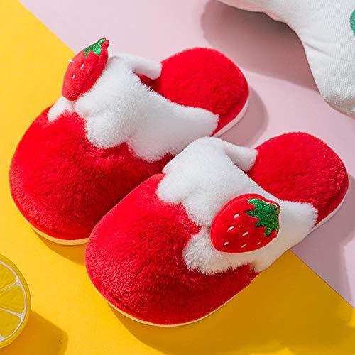 Memory Foam Slippers Plush Heating,Kinder Baumwollpantoffeln Winter innen warm rutschfest niedlich Kind Junge Mädchen Herbst Winter Baby Hausschuhe-36-37_Rot