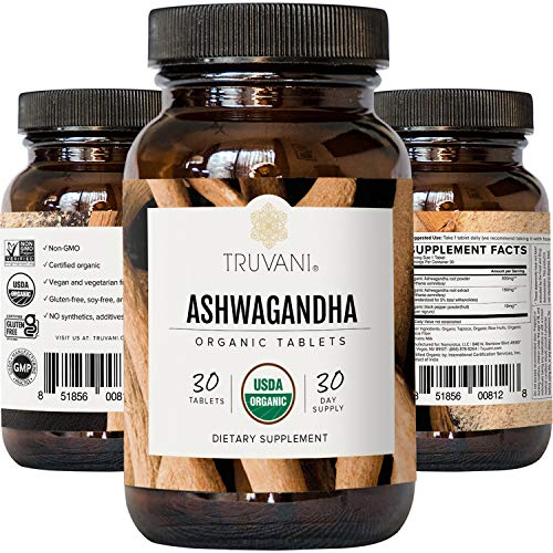 Truvani Organic Ashwagandha | Daily Energy, Positive Mood Support, Supports Brain Health | Supports Muscle Growth and Endurance | Healthy Sleep Support | Non-GMO | 30 Day Supply