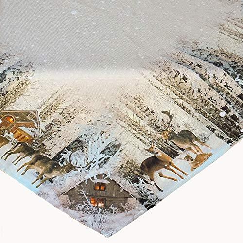 Kamaca Mitteldecke 85x85 cm Rehfamilie im Winterwald hochwertiges Druck-Motiv - EIN Schmuckstück in Winter Weihnachten (Tischdecke 85x85)