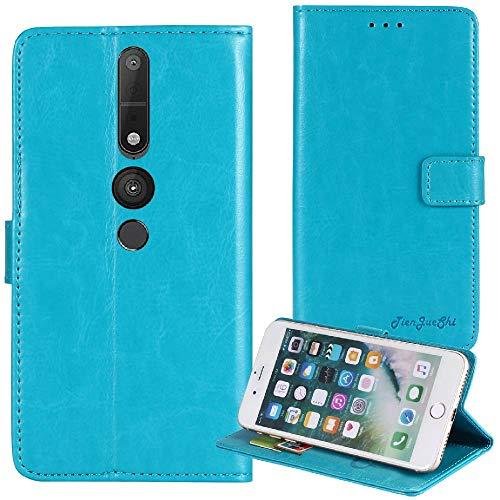 TienJueShi Blau Premium Retro Business Flip Book Stand Brief Leder Tasche Für Lenovo Phab 2 Pro 6.4 inch Schutz Hülle Handy Hülle Abdeckung Wallet Cover Etüi Skin