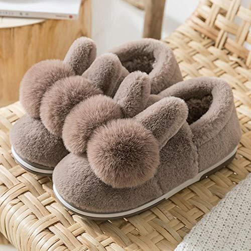 Treslin Slipper Memory Foam Plush Heating,Kinder Kaninchen Baumwollpantoffeln Winter Hasenpantoffeln Plüsch Plus Samt Fee männlich-40-41 Meter_D