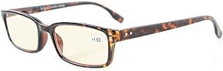 Eyekepper Classical Rectangular Frame Spring-Hinges Computer Reading Glasses Readers Eyeglasses (Tortoiseshell, Yellow Tinted Lenses) +2.75