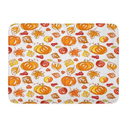 "ECNM56B Doormats Bath Rugs Door Mat Brown Fall Thanksgiving Autumn Colorful Harvest Pattern Acorns Apples 15.8""x23.6"""