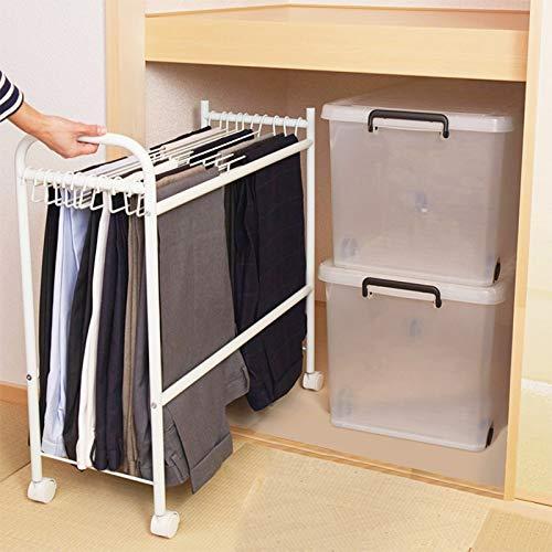 Lqdp Perchas para Pantalones Perchas de Pantalón Blanco para Armario, Multifuncional con 10 Perchas, Jeans Colgantes/Pañuelos en La Cabeza/Faldas/Chales, 74x30x70cm