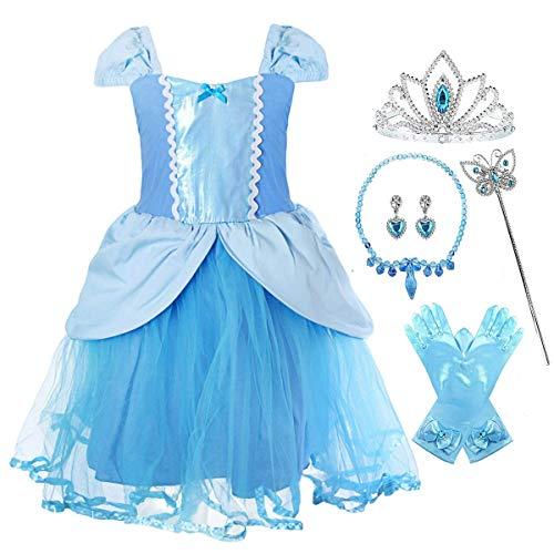 Fanessy Vestido de nias disfraz de princesa Cenicienta vestido maxi disfraz de carnaval para nios disfraz de fiesta de Halloween