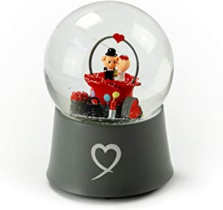 Precious Little Piggys Wedding Couple Sitting in Rose Bud 18 Note Musical Snow Globe - Over 400 Song Choices - Sleeping Beauty Waltz (Once Upon a Dream)