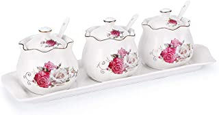 Set of 3 Rose pattern Porcelain Condiment Jar Spice Container with Lids, Ceramic Serving Spoon,Ceramic tray - Best Pottery Cruet Pot for Your Home, Kitchen, Counter.