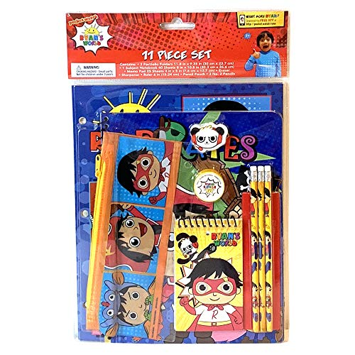 Innovative Designs Ryan's World School Supplies Set with Pencil Case, Notebook, Pencils - 11 Pc. Set