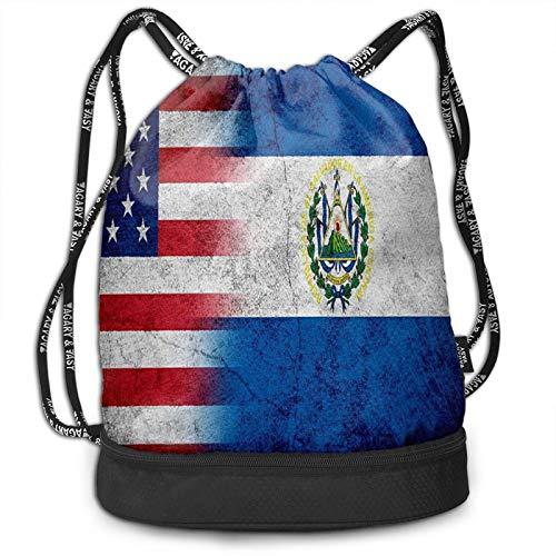 Wearibear Bolsa de gimnasio ligera con la bandera de salvadoreños y nosotros, bolsa de gimnasio, ligera, bolsa de compras, duradera, lavable, con bolsillos aislantes, para viajes, golf, yoga