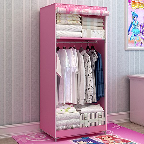 Generic Brand New Single Portable Dustproof Wardrobe Cartoon Closet for Kids Bedroom Furniture Bold Armoire with Fully-enclosed Cover
