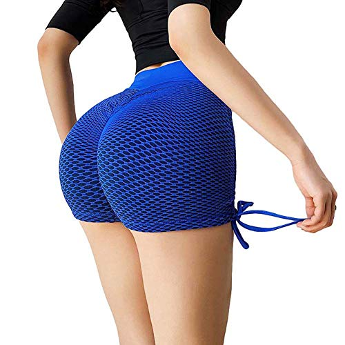 AKSE Sexy Yoga-Hosen, Pfirsich-Hüft-Fitness-Shorts, dünnes Sommertraining läuft Sport eng anliegende Hose, dreidimensionale Hüft-Yoga-Hosen, Pfirsich-Hüft-Sportart DREI H Blue-M