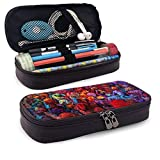 Khtti Holi Festival Large Capacity Pencil Case PU Leather Functional Stationery Bags