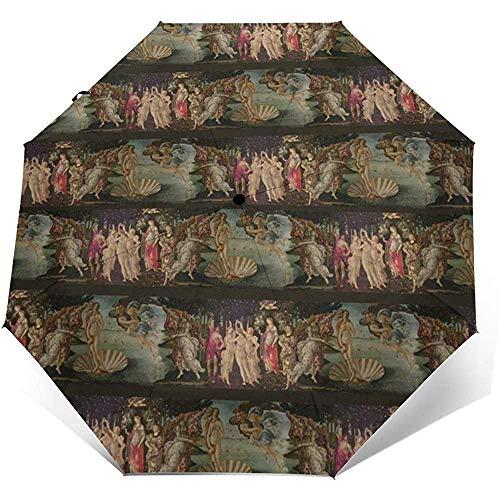 Umbrella Botticelli Geburt von Venus und Primavera mit StreifenTravel Umbrella Compact Automatic FoldingAnti UV Sonnenschutz