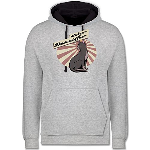 Shirtracer Katzen - Stolzer Dosenöffner Katze - 4XL - Grau meliert/Navy Blau - JH003_Hoodie_Unisex - JH003 - Hoodie zweifarbig und Kapuzenpullover für Herren und Damen