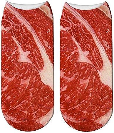 Uridy Calze fresche unisex con bistecca di manzo Calze morbide stampate Calze corte per tutte le stagioni Calze corte